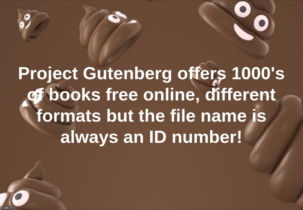 Project Gutenberg offers 1000's of books free online, different formats but the file name is always an ID number! | image tagged in project,gutenberg,id,file,format | made w/ Imgflip meme maker