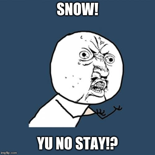 It was 57 degrees in DECEMBER | SNOW! YU NO STAY!? | image tagged in memes,y u no,snow,melt,december,temperature | made w/ Imgflip meme maker