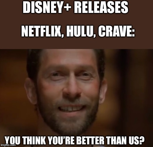 You Think You're Better Than Us? | DISNEY+ RELEASES NETFLIX, HULU, CRAVE: YOU THINK YOU'RE BETTER THAN US? | image tagged in blake t nelson,holes,disney | made w/ Imgflip meme maker