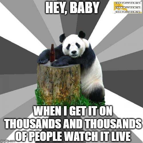 sexy panda |  HEY, BABY; WHEN I GET IT ON THOUSANDS AND THOUSANDS OF PEOPLE WATCH IT LIVE | image tagged in memes,pickup line panda | made w/ Imgflip meme maker