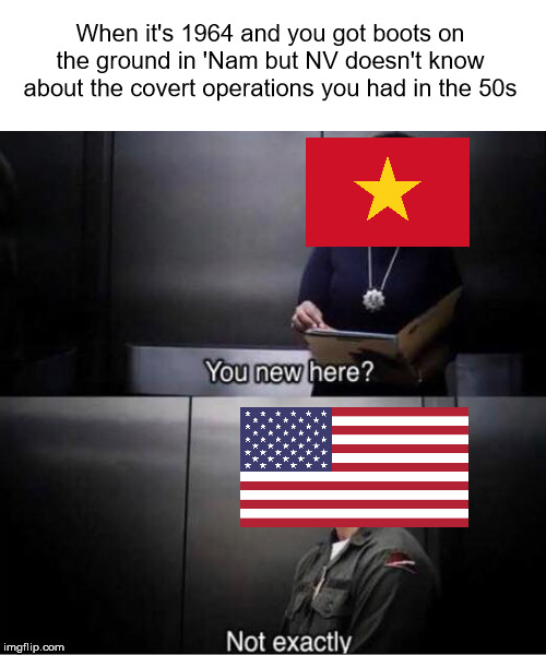 Vietnam War meme | When it's 1964 and you got boots on the ground in 'Nam but NV doesn't know about the covert operations you had in the 50s | image tagged in you new here,vietnam,america,memes | made w/ Imgflip meme maker