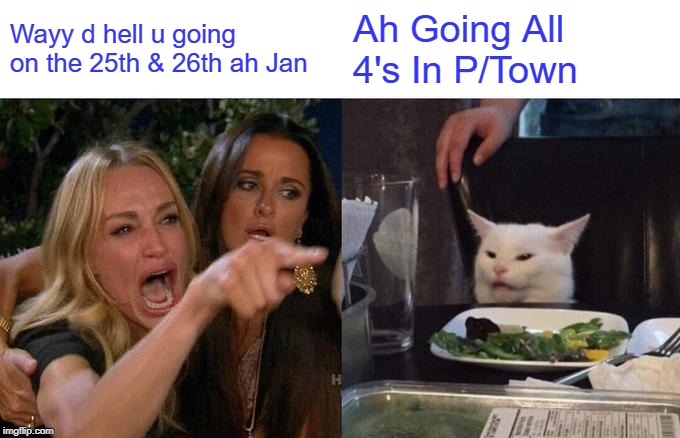 Woman Yelling At Cat Meme |  Wayy d hell u going on the 25th & 26th ah Jan; Ah Going All 4's In P/Town | image tagged in memes,woman yelling at cat | made w/ Imgflip meme maker