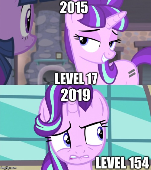 Playing my first gta online in 2015 vs continue playing gta online in 2019 |  2015; LEVEL 17; 2019; LEVEL 154 | image tagged in gta online,starlight glimmer,mlp fim,level,2015,2019 | made w/ Imgflip meme maker