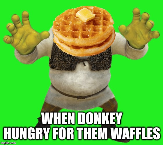 when donkey hungry | WHEN DONKEY HUNGRY FOR THEM WAFFLES | image tagged in memes,donkey,shrek,waffles | made w/ Imgflip meme maker