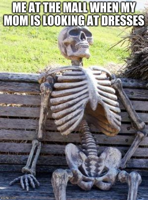 Waiting Skeleton | ME AT THE MALL WHEN MY MOM IS LOOKING AT DRESSES | image tagged in memes,waiting skeleton | made w/ Imgflip meme maker