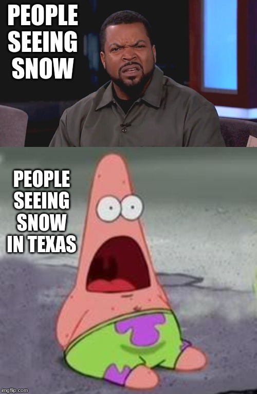 PEOPLE SEEING SNOW PEOPLE SEEING SNOW IN TEXAS | image tagged in suprised patrick,really ice cube | made w/ Imgflip meme maker