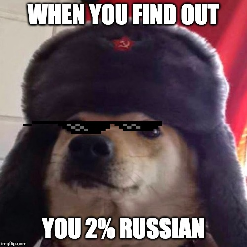 cyka blyat | WHEN YOU FIND OUT YOU 2% RUSSIAN | image tagged in cyka blyat | made w/ Imgflip meme maker