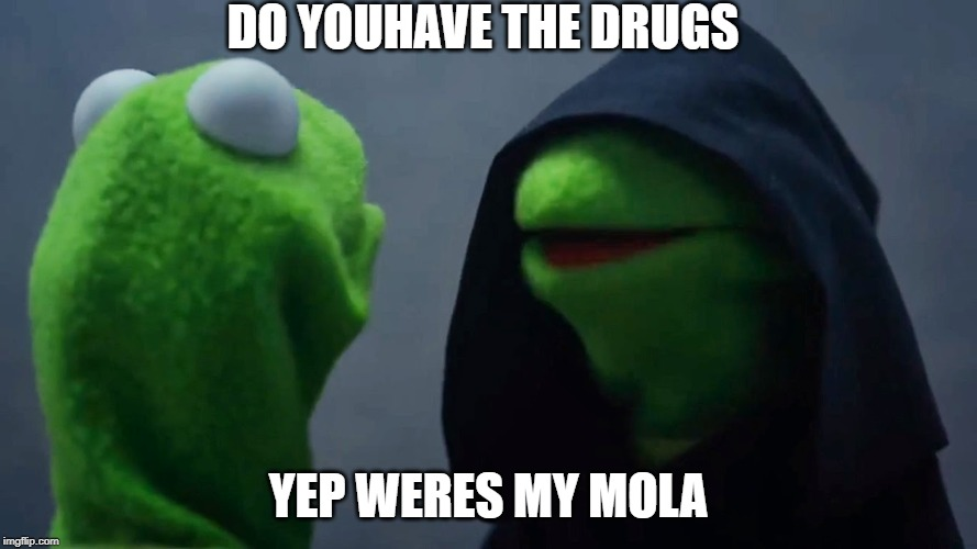 Kermit Inner Me | DO YOUHAVE THE DRUGS YEP WERES MY MOLA | image tagged in kermit inner me | made w/ Imgflip meme maker