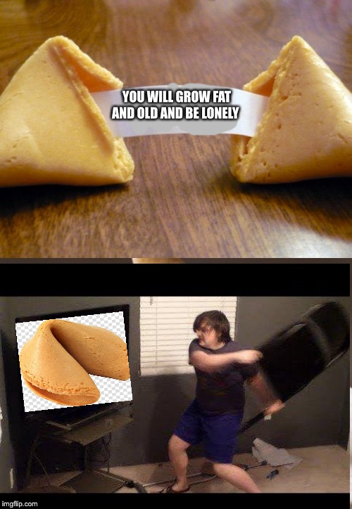 Most evil fortune cookie ? | YOU WILL GROW FAT AND OLD AND BE LONELY | image tagged in evil,fortune cookie | made w/ Imgflip meme maker