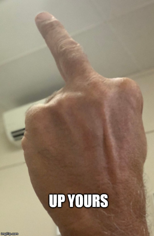 My Finger | UP YOURS | image tagged in finger | made w/ Imgflip meme maker