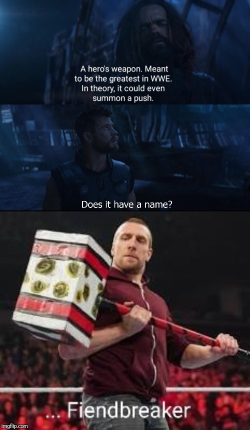 image tagged in wwe,marvel,daniel bryan,thor,infinity war,thor hammer | made w/ Imgflip meme maker