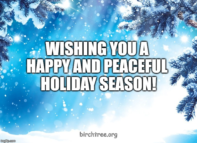 WISHING YOU A  HAPPY AND PEACEFUL  HOLIDAY SEASON! birchtree.org | image tagged in birch tree,birchtree,christmas | made w/ Imgflip meme maker