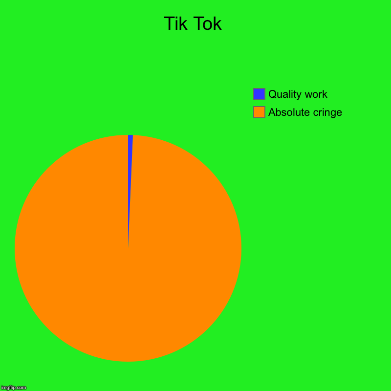 Tik Tok | Absolute cringe, Quality work | image tagged in charts,pie charts | made w/ Imgflip chart maker