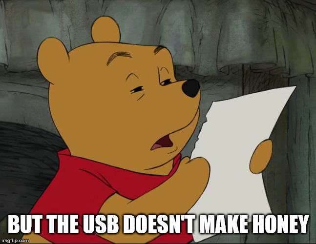 Winnie The Pooh | BUT THE USB DOESN'T MAKE HONEY | image tagged in winnie the pooh | made w/ Imgflip meme maker
