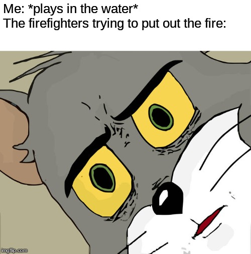 Unsettled Tom |  Me: *plays in the water*  The firefighters trying to put out the fire: | image tagged in memes,unsettled tom | made w/ Imgflip meme maker