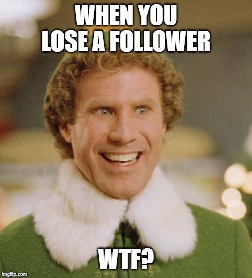 Bad day | WHEN YOU LOSE A FOLLOWER WTF? | image tagged in memes,buddy the elf,imgflip users,followers | made w/ Imgflip meme maker