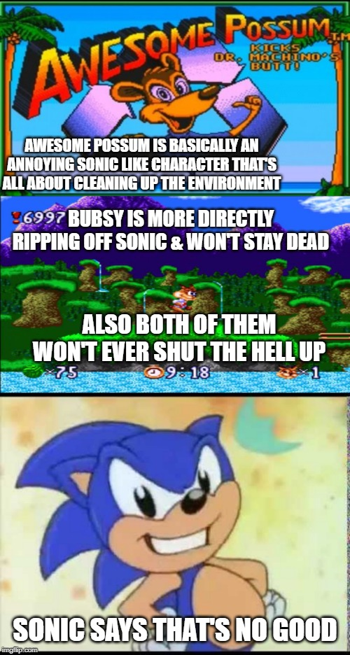 AWESOME POSSUM IS BASICALLY AN ANNOYING SONIC LIKE CHARACTER THAT'S ALL ABOUT CLEANING UP THE ENVIRONMENT SONIC SAYS THAT'S NO GOOD BUBSY IS | image tagged in sonic the hedgehog,rip off,mascots | made w/ Imgflip meme maker