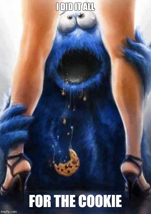 Nom nom nom | I DID IT ALL FOR THE COOKIE | image tagged in cookie monster,stripper,cookie,yummy,dirty | made w/ Imgflip meme maker
