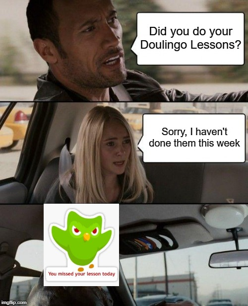 The Rock Driving Meme | Did you do your Doulingo Lessons? Sorry, I haven't done them this week | image tagged in memes,the rock driving | made w/ Imgflip meme maker