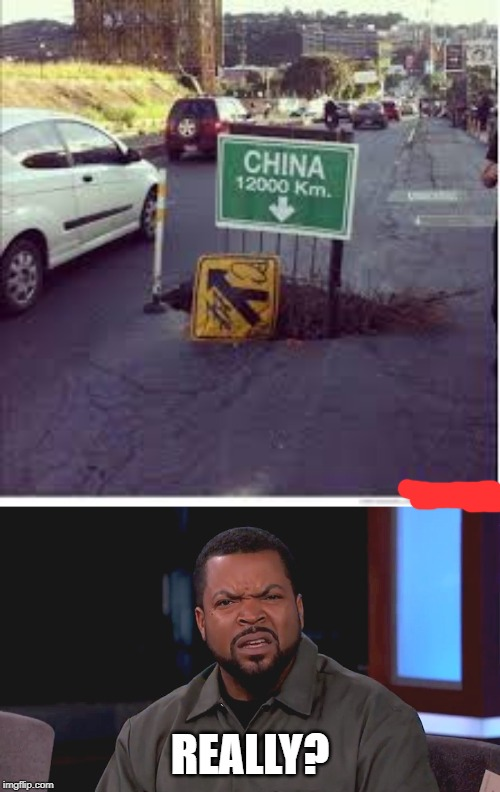 this is a hole to the other side of the earth |  REALLY? | image tagged in really ice cube,china,funny,memes,road,stupid signs | made w/ Imgflip meme maker