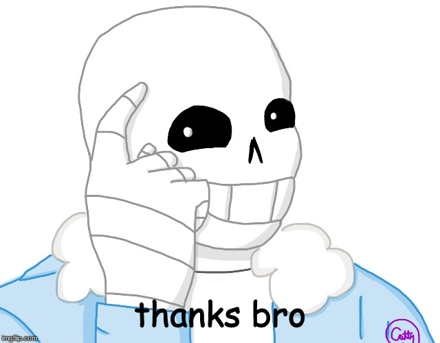 It's Sans, Think About It | thanks bro | image tagged in its sans think about it | made w/ Imgflip meme maker