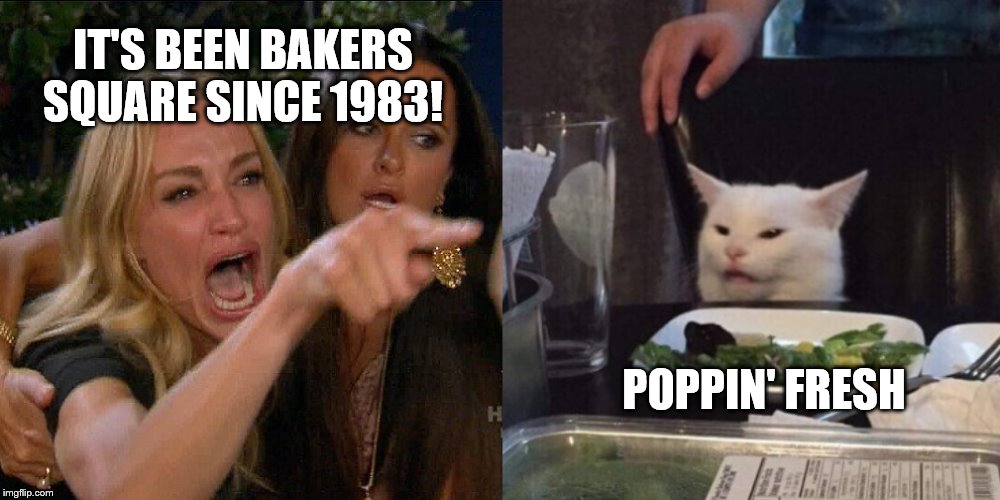 BAKERS SQUARE VS POPPIN' FRESH |  IT'S BEEN BAKERS SQUARE SINCE 1983! POPPIN' FRESH | image tagged in woman yelling at cat | made w/ Imgflip meme maker