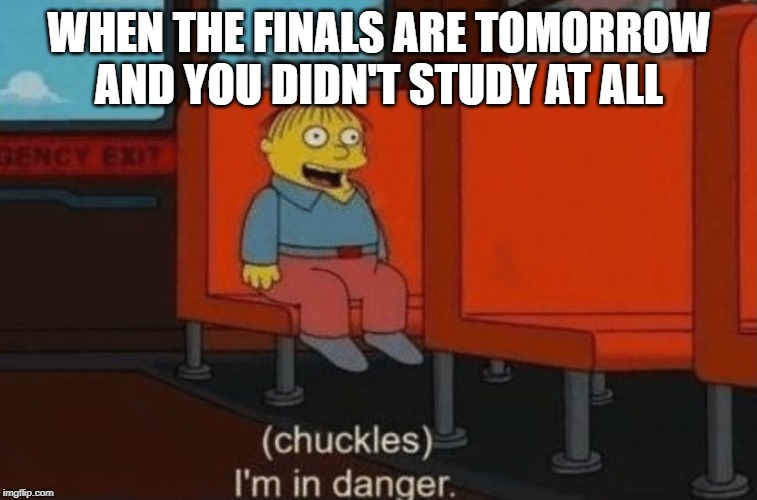 Chuckels, Im in danger. | WHEN THE FINALS ARE TOMORROW AND YOU DIDN'T STUDY AT ALL | image tagged in chuckels im in danger | made w/ Imgflip meme maker