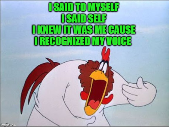 foghorn | I SAID TO MYSELF  I SAID SELF  I KNEW IT WAS ME CAUSE  I RECOGNIZED MY VOICE | image tagged in foghorn | made w/ Imgflip meme maker