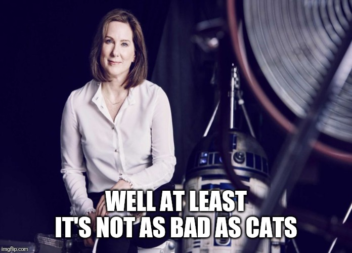 Saving the worst to last |  WELL AT LEAST IT'S NOT AS BAD AS CATS | image tagged in kathleen kennedy | made w/ Imgflip meme maker