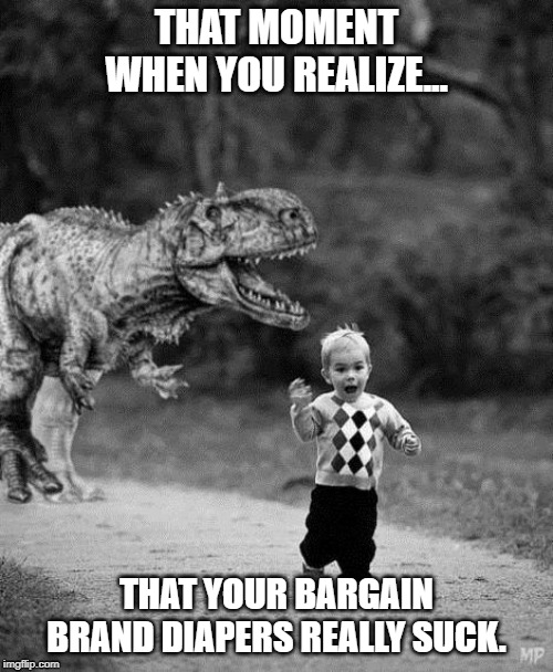 Bargain Brand Diapers |  THAT MOMENT WHEN YOU REALIZE... THAT YOUR BARGAIN BRAND DIAPERS REALLY SUCK. | image tagged in diapers,dinosaur | made w/ Imgflip meme maker