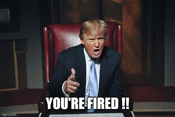 Donald Trump You're Fired |  YOU'RE FIRED !! | image tagged in donald trump you're fired | made w/ Imgflip meme maker