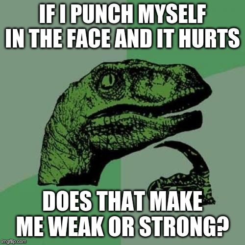 Philosoraptor | IF I PUNCH MYSELF IN THE FACE AND IT HURTS DOES THAT MAKE ME WEAK OR STRONG? | image tagged in memes,philosoraptor | made w/ Imgflip meme maker