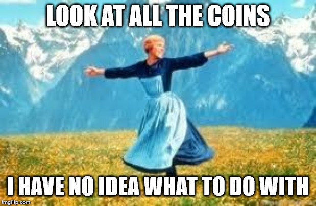 Look At All These Meme | LOOK AT ALL THE COINS I HAVE NO IDEA WHAT TO DO WITH | image tagged in memes,look at all these,AdviceAnimals | made w/ Imgflip meme maker