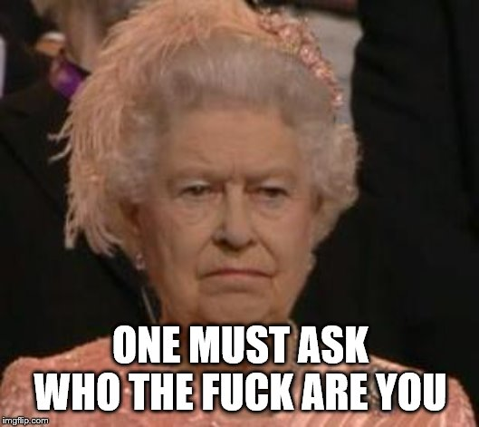 queen | ONE MUST ASK WHO THE F**K ARE YOU | image tagged in queen | made w/ Imgflip meme maker