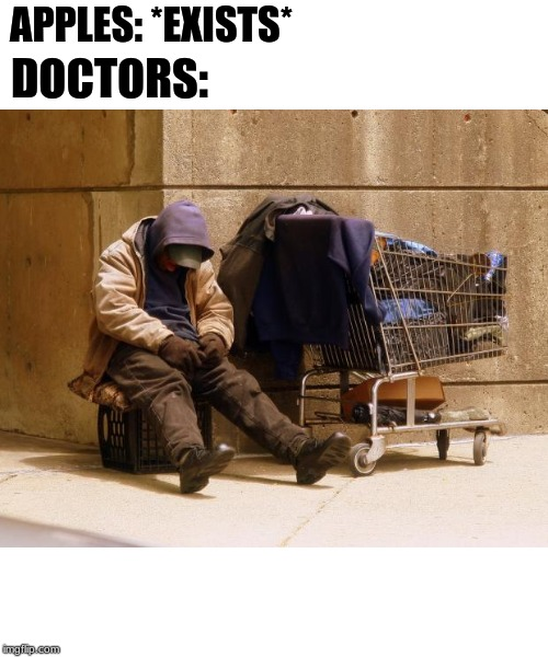Homeless |  APPLES: *EXISTS*; DOCTORS: | image tagged in homeless | made w/ Imgflip meme maker