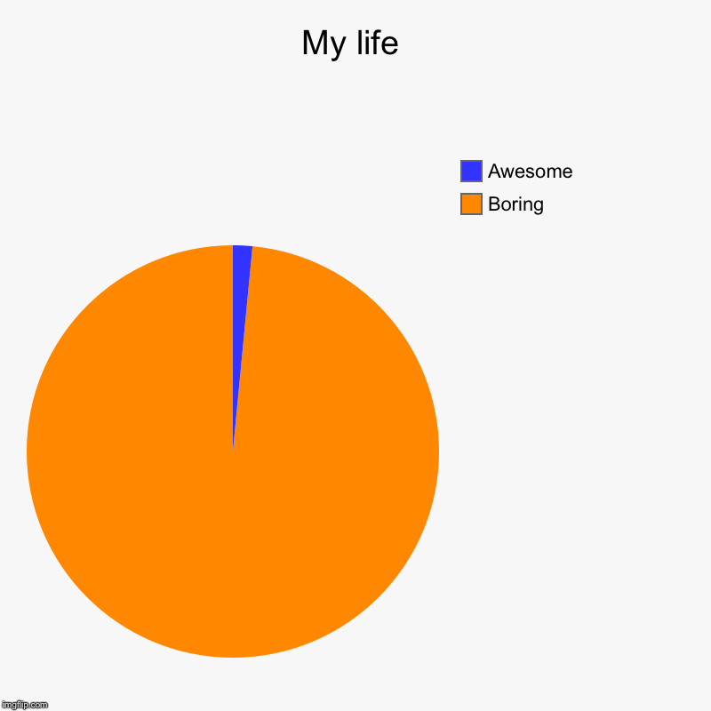 My life | Boring , Awesome | image tagged in charts,pie charts | made w/ Imgflip chart maker