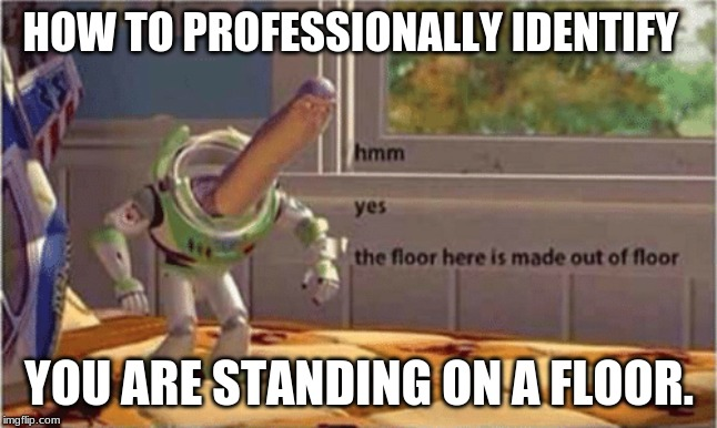 hmm yes the floor here is made out of floor |  HOW TO PROFESSIONALLY IDENTIFY; YOU ARE STANDING ON A FLOOR. | image tagged in oh,hello,how,are,you | made w/ Imgflip meme maker