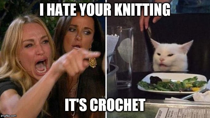 Angry lady cat | I HATE YOUR KNITTING IT'S CROCHET | image tagged in angry lady cat | made w/ Imgflip meme maker