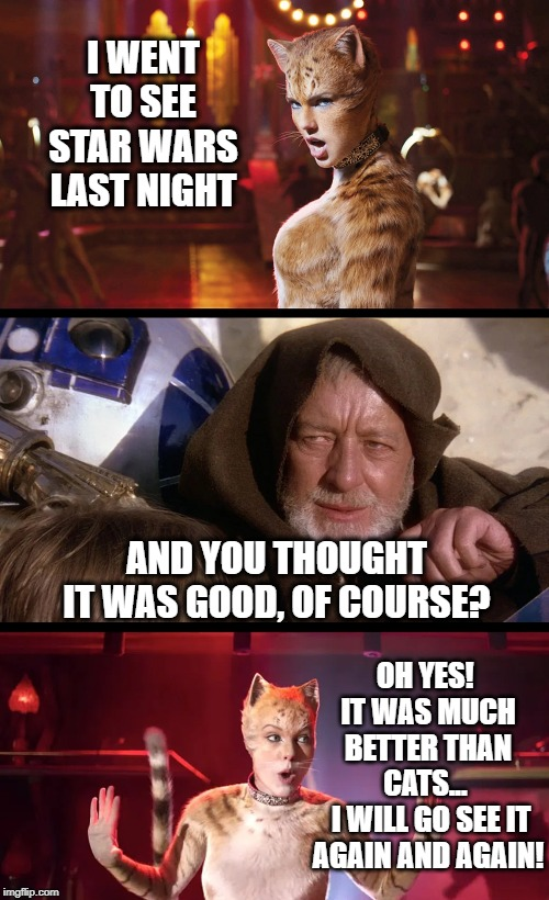 The Force can have a strong influence on cats | I WENT TO SEE STAR WARS LAST NIGHT AND YOU THOUGHT IT WAS GOOD, OF COURSE? OH YES!  IT WAS MUCH BETTER THAN CATS...  I WILL GO SEE IT AGAIN | image tagged in cats and jedi mind tricks,star wars,obi wan kenobi jedi mind trick,jedi mind trick,cats | made w/ Imgflip meme maker