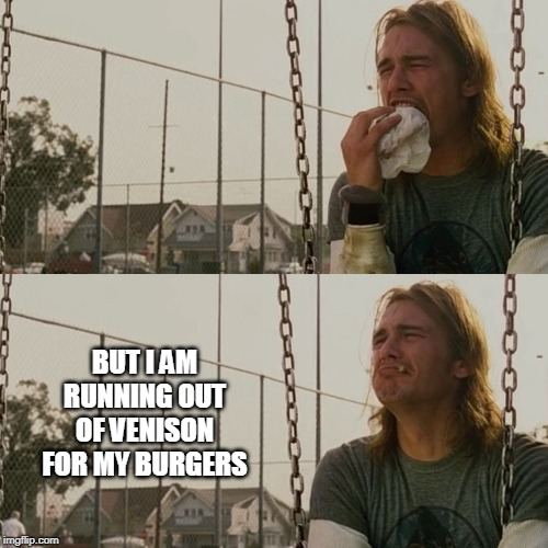 BUT I AM RUNNING OUT OF VENISON FOR MY BURGERS | image tagged in sad james franco | made w/ Imgflip meme maker