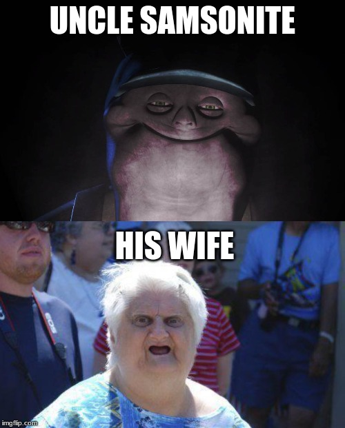 meme | UNCLE SAMSONITE HIS WIFE | image tagged in wat lady,uncle samsonite | made w/ Imgflip meme maker