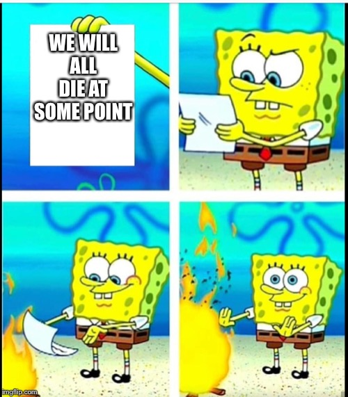 WE WILL ALL DIE AT SOME POINT | image tagged in spongebob,harsh,truth | made w/ Imgflip meme maker