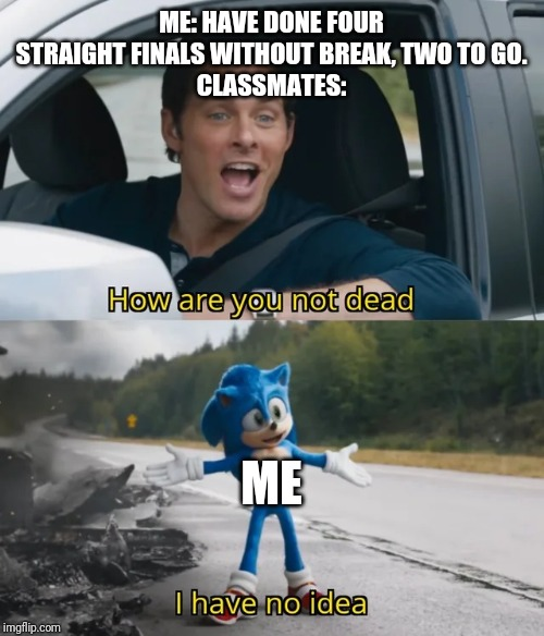 Finals | ME: HAVE DONE FOUR STRAIGHT FINALS WITHOUT BREAK, TWO TO GO. CLASSMATES: ME | image tagged in sonic i have no idea | made w/ Imgflip meme maker