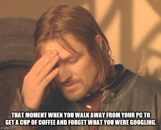 Forgot What I was Googling |  THAT MOMENT WHEN YOU WALK AWAY FROM YOUR PC TO GET A CUP OF COFFEE AND FORGET WHAT YOU WERE GOOGLING. | image tagged in memes,frustrated boromir,forgetfullness,getting old | made w/ Imgflip meme maker