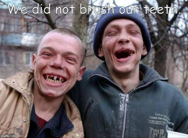 No teeth | We did not brush our teeth. | image tagged in no teeth | made w/ Imgflip meme maker
