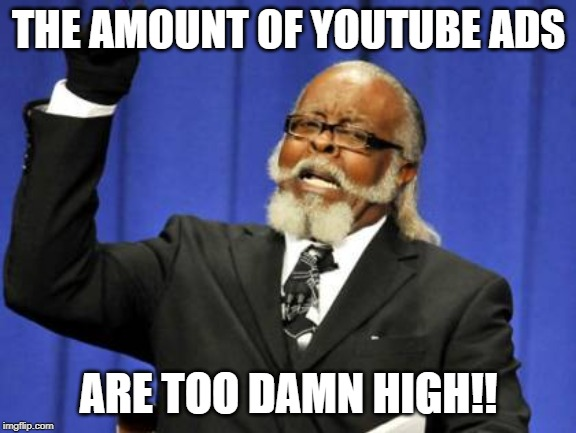 Too Damn High |  THE AMOUNT OF YOUTUBE ADS; ARE TOO DAMN HIGH!! | image tagged in memes,too damn high,youtube ads | made w/ Imgflip meme maker