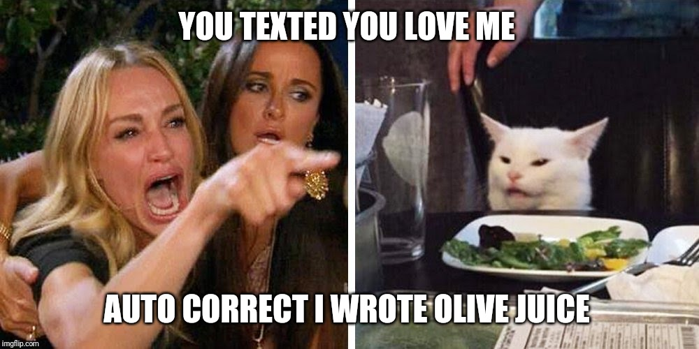 Smudge the cat | YOU TEXTED YOU LOVE ME AUTO CORRECT I WROTE OLIVE JUICE | image tagged in smudge the cat | made w/ Imgflip meme maker