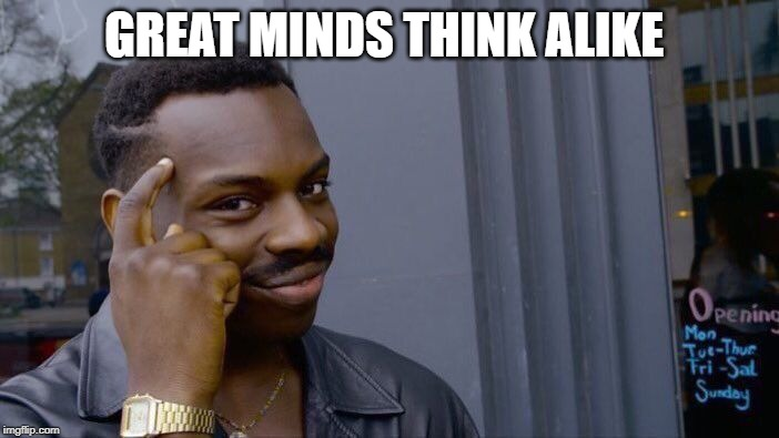 Roll Safe Think About It Meme | GREAT MINDS THINK ALIKE | image tagged in memes,roll safe think about it | made w/ Imgflip meme maker