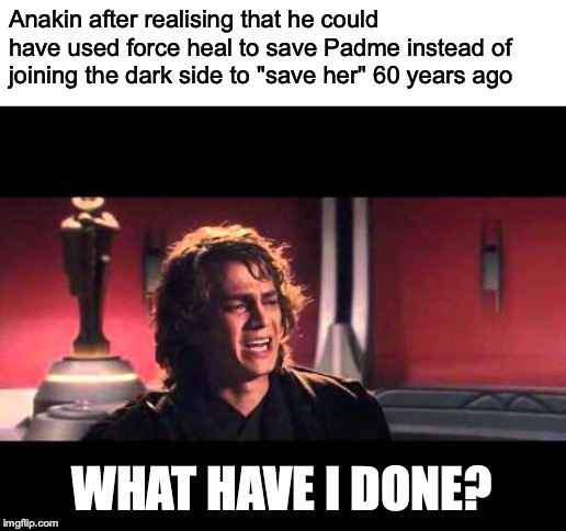 "Anakin What have I done? |  Anakin after realising that he could have used force heal to save Padme instead of joining the dark side to ""save her"" 60 years ago; WHAT HAVE I DONE? 