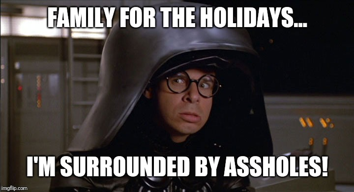 Dark Helmet |  FAMILY FOR THE HOLIDAYS... I'M SURROUNDED BY ASSHOLES! | image tagged in dark helmet | made w/ Imgflip meme maker